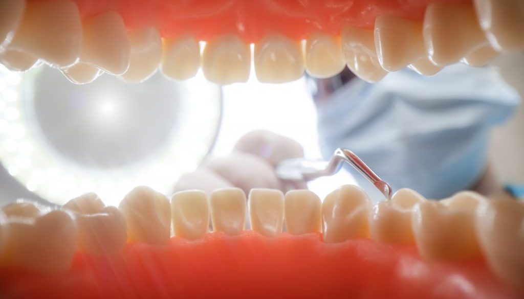 Patient at a dentist appointment in a dental clinic. View from i